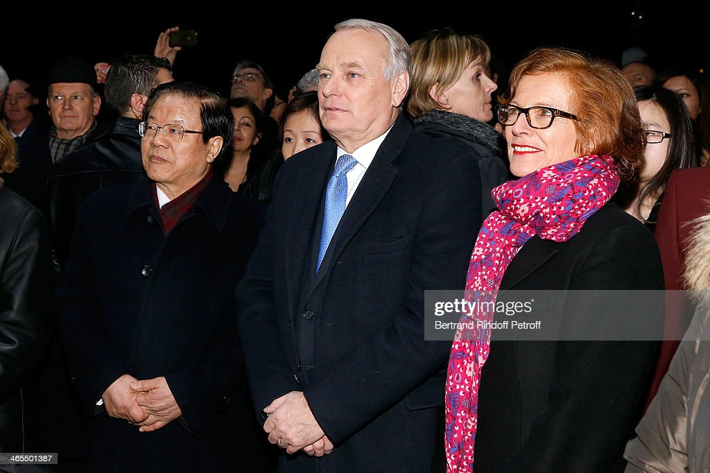 China Culture Minister Cai Wu and French Prime Minister Jean-Marc Ayrault with his wife Brigitte Ayrault watch the Bartabas show whyle the 'Nuit De La Chine' - Opening Night at Grand Palais on January 27, 2014 in Paris, France.