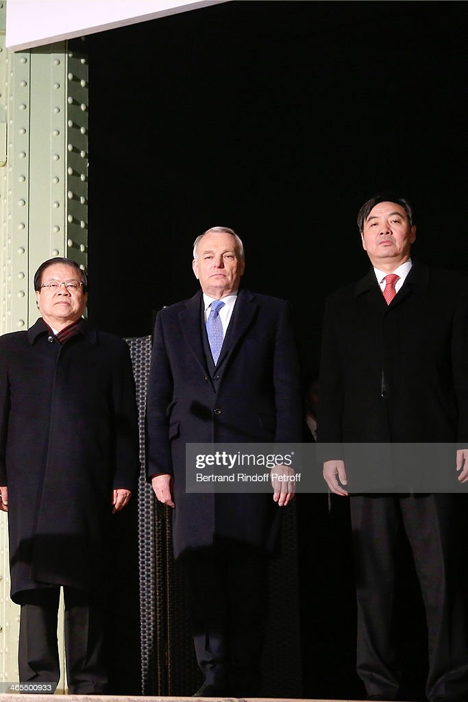 China Culture Minister Cai Wu, French Prime Minister <a gi-track='captionPersonalityLinkClicked' href=/galleries/search?phrase=Jean-Marc+Ayrault&family=editorial&specificpeople=551961 ng-click='$event.stopPropagation()'>Jean-Marc Ayrault</a> and China Ambassador Zhai Zun present the 'Nuit De La Chine' - Opening Night at Grand Palais on January 27, 2014 in Paris, France.