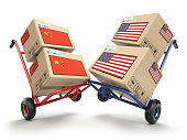 USA China economic trade war market conflict concept.  Two opposing hand trucks and cardboard boxes with USA and China flags., 3d illustration