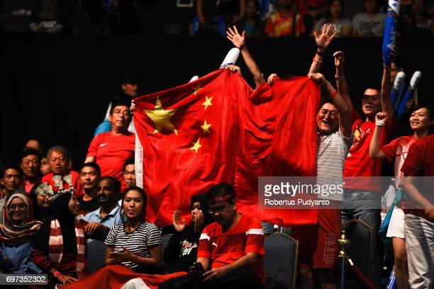 China fans cheer during Womens Double Final match of the BCA Indonesia Open 2017 at Plenary Hall Jakarta Convention Centre on June 18 2017 in Jakarta...
