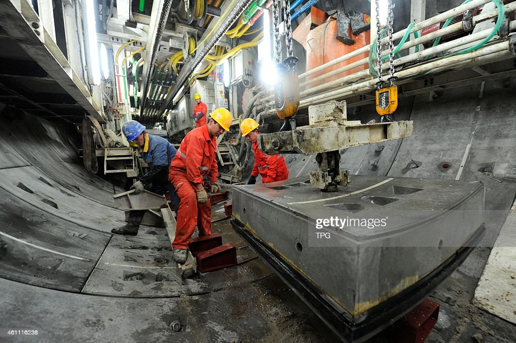 China first subway tunnel which build under Yellow River is under construction on 07th January, 2015 in Lanzhou, Gansu, China.