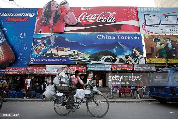 'China Forever' billboard made by China National Tourism Administration is displayed outside of the International airport on January 22 2010 in...