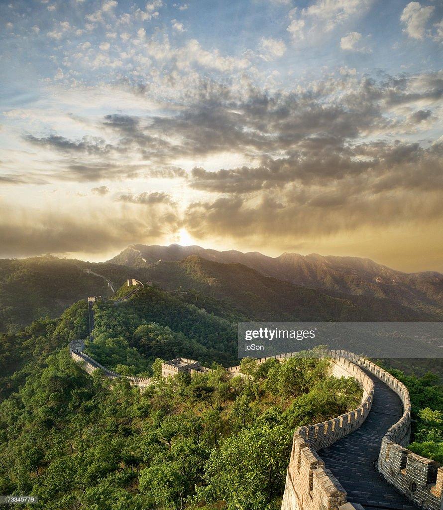 China, Great Wall of China at sunset, elevated view