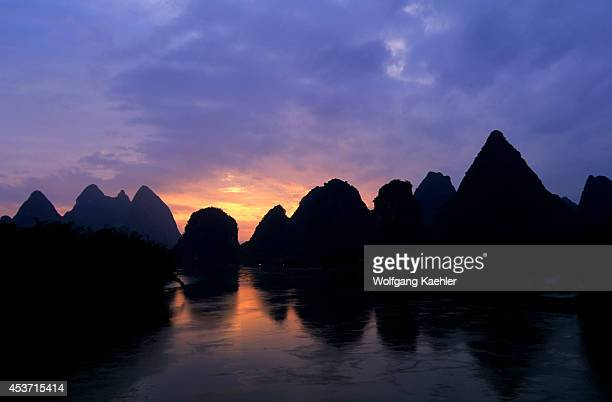China Guangxi Province Near Guilin Yangshuo Li River At Sunrise Limestone Mountains