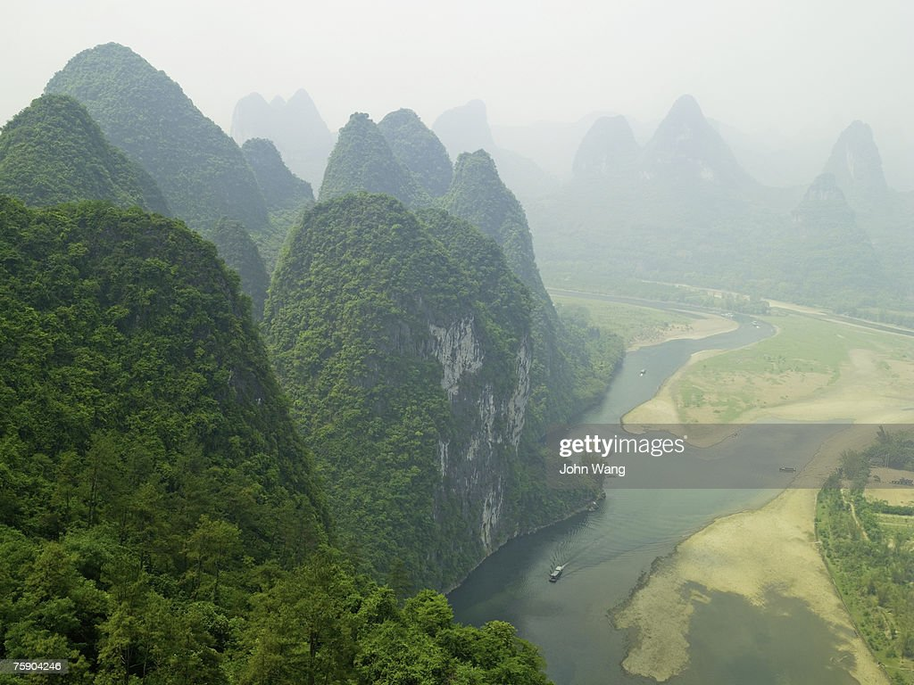 China, Guilin, Li river, river, aerial view : Stock Photo