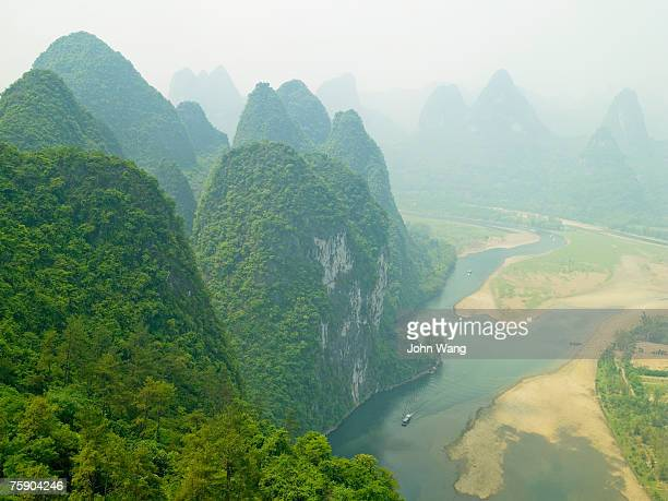 China, Guilin, Li river, river, aerial view