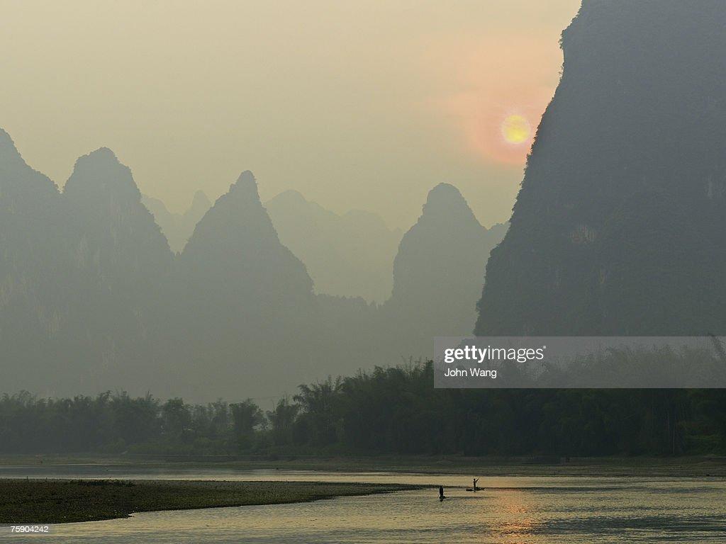 China, Guilin, Li river, sunrise on river : Stock Photo