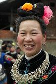 China, Guizhou Province, Zhang Ao Village, Miao Tribal woman, portrait