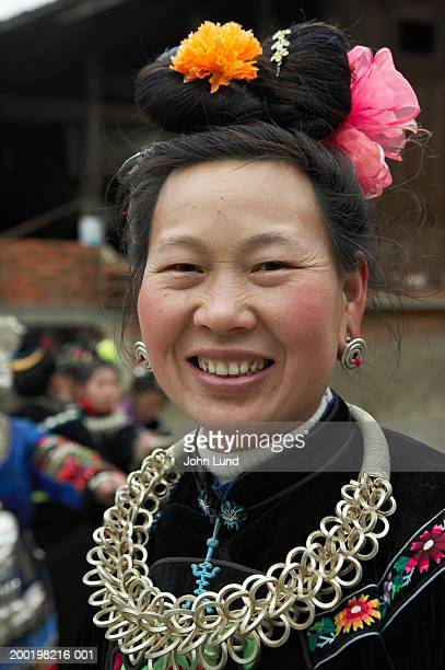 China, Guizhou Province, Zhang Ao Village, Miao Tribal woman, portrait
