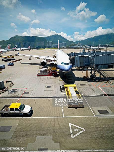 China, Hong Kong, airplane at Hong Kong International Airport, elevated view