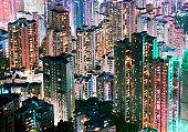China, Hong Kong, apartment blocks at night