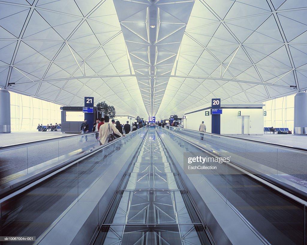 China, Hong Kong, Chek Lap Kok Airport, low angle view of escalator