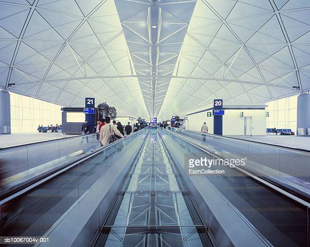 China, Hong Kong, Chek Lap Kok Airport, low angle view of escalator