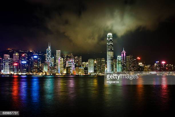 China, Hong Kong, City skyline at night