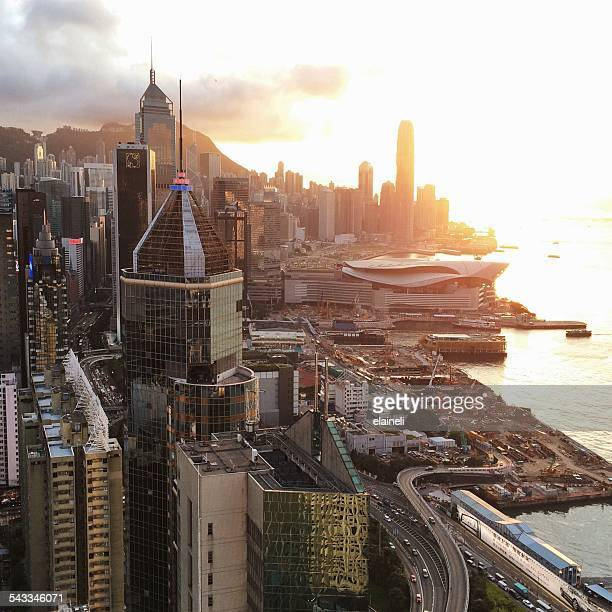 China, Hong Kong, Cityscape at sunset