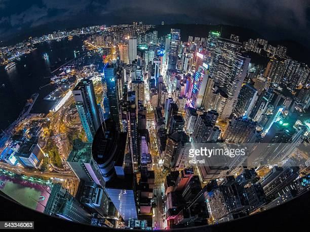 China, Hong Kong, Elevated view of city at night