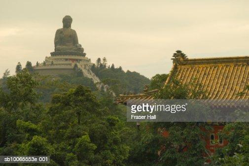 China, Hong Kong, Lantau Island, statue of Big Buddha at Po Lin Monastery