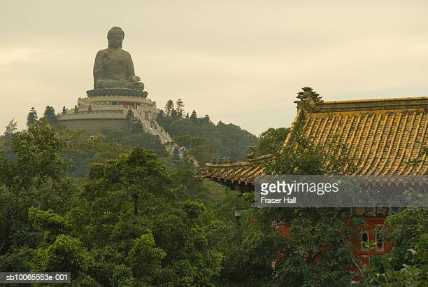 China, Hong Kong, Lantau Island, statue of Big Buddha at Po Lin Monastery