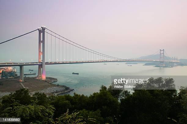 China, Hong Kong, Tsing Ma Bridge, part of the Lantau Link, connects Tsing Yi Island with Lantau Island via Ma Wan Island, built 1997 at dusk