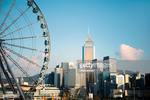 China, Hong Kong, view to big wheel, Central Plaza and other skyscrapers
