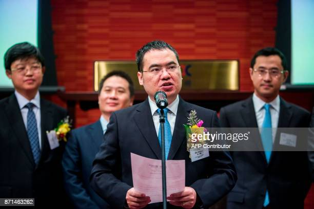 China Literature Limited CoChief Executive Officer Wu wenhui speaks at the companies Intial Public Offering at the Hong Kong Stock Exchange on...