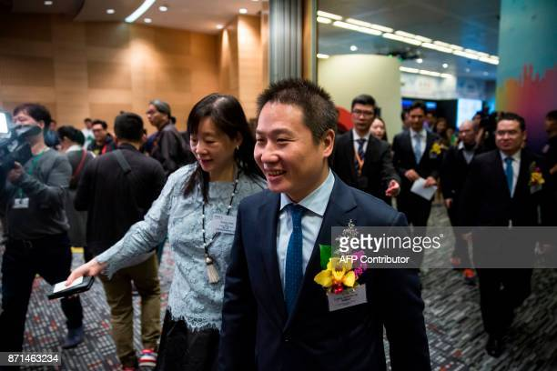 China Literature Limited CoChief Executive Officers Liang Xiaodong arrives at the companies Intial Public Offering at the Hong Kong Stock Exchange on...