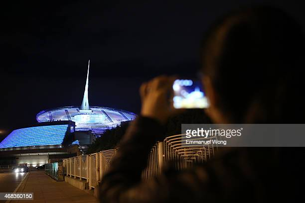 China Millennium Monument is illuminated in blue to mark the World Autism Awareness Day on April 2 2015 in Beijing China