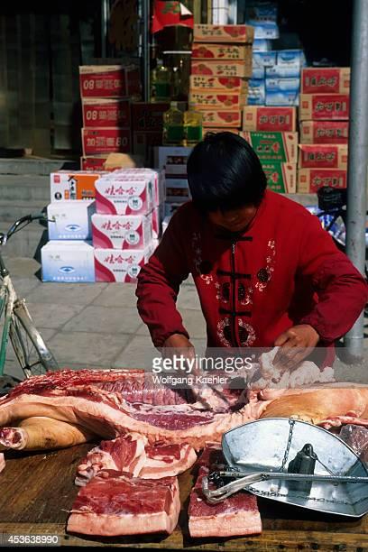 China Near Beijing Small Town Street Market Butcher