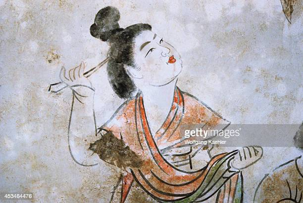 China Near Xian Yang Tang Tombs Interior Wall Paintings Woman