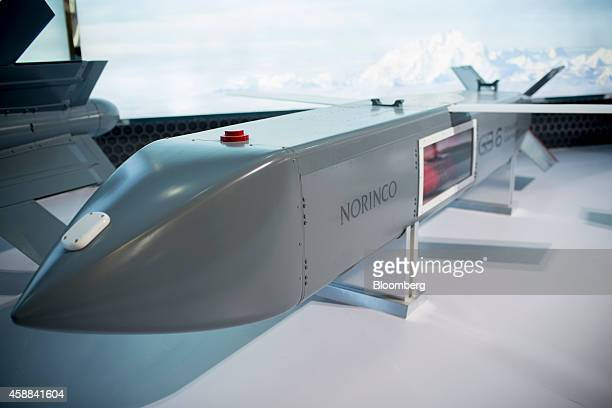 A China North Industries Group Corp GB 6 500kg airlaunched dispenser stands on display during the China International Aviation Aerospace Exhibition...