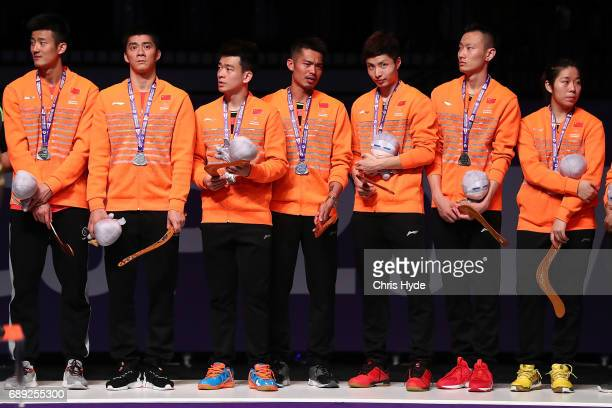China on the podium after losing to Korea competes in the Final match during the Sudirman Cup at the Carrara Sports Leisure Centre on May 28 2017 in...