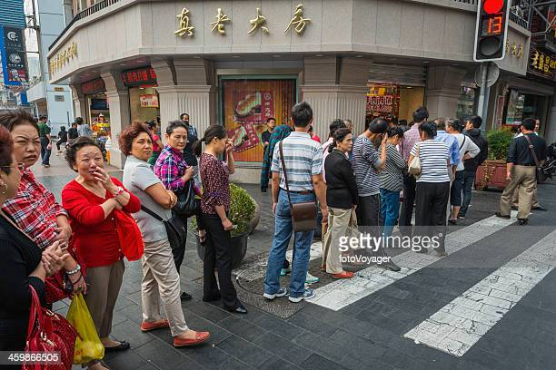 China people queuing for popular fast food Nanjing Road Shanghai