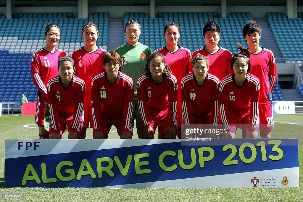 China players line up (L-R Back Row) Pu Wei, Li Jiayue, Wang Fei, Zeng Ying, Ma Xiaoxu and Zhang Rui, (Front Row) Wang Lisi, Han Peng, Wu Haiyan, Zhou Feifei and Lei Jiahui before the Algarve Cup 2013 fifth place match at the Estadio Algarve on March 13, 2013 in Faro, Portugal.