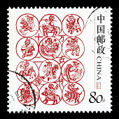 Chinese Zodiac Sign on Postage Stamp.