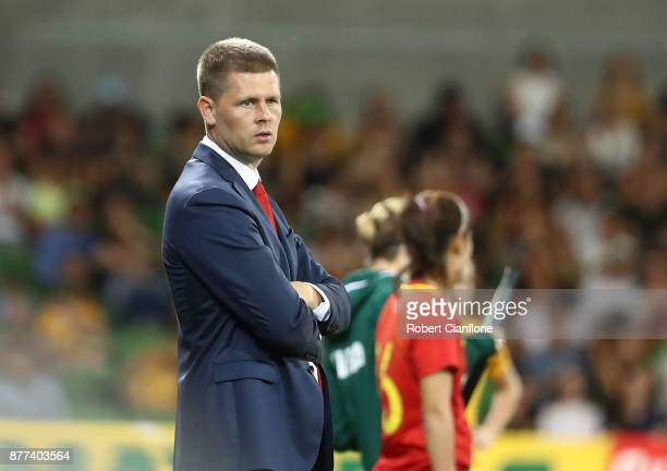 China PR coach Sigurdur Eyjolfsson looks on during the Women's International match between the Australian Matildas and China PR at AAMI Park on...