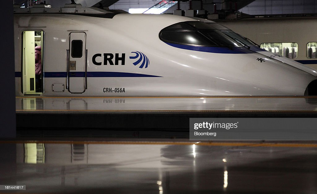 A China Railways high speed train is parked at Hongqiao Railway Station in Shanghai, China, on Friday, Feb. 8, 2013. A record 3.41 billion passenger trips may be made this year during the Lunar New Year period, according to the National Development and Reform Commission. Photographer: Tomohiro Ohsumi/Bloomberg via Getty Images