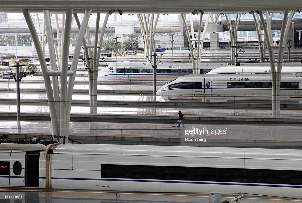 China Railways high speed trains sit parked at Hongqiao Railway Station in Shanghai, China, on Friday, Feb. 8, 2013. A record 3.41 billion passenger trips may be made this year during the Lunar New Year period, according to the National Development and Reform Commission. Photographer: Tomohiro Ohsumi/Bloomberg via Getty Images
