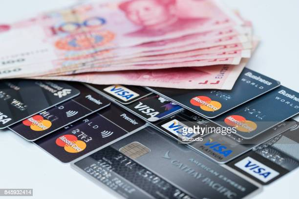 China RMB bank note Credit card of VISA AMERICAN and Master are arranged for a photograph on 11 September 2017 in Hong Kong Hong Kong Photo by