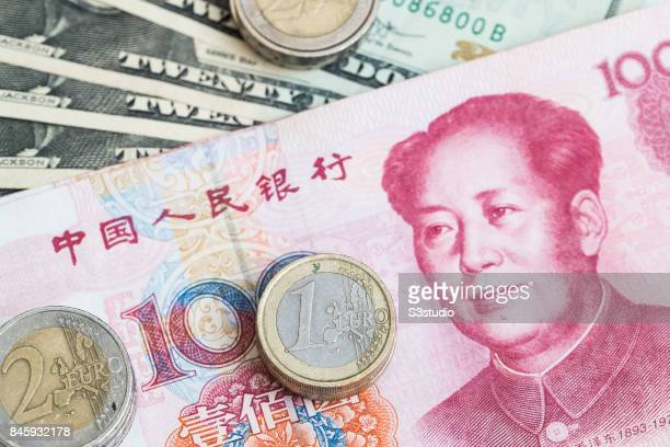 China RMB bank note Euro coins are arranged for a photograph on 11 September 2017 in Hong Kong Hong Kong Photo by