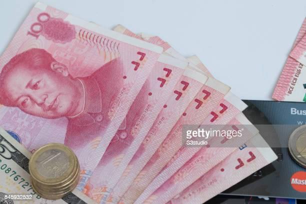 China RMB bank note US dollar Euro coins credit card of Master are arranged for a photograph on 11 September 2017 in Hong Kong Hong Kong Photo by