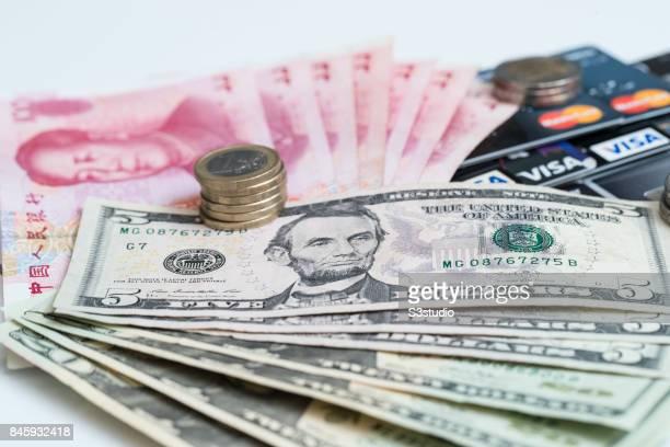 China RMB bank note US dollar Euro coins credit card of VISA AMERICAN and Masterare arranged for a photograph on 11 September 2017 in Hong Kong Hong...
