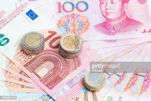 China RMB Euro bank note Euro coins are arranged for a photograph on 11 September 2017 in Hong Kong Hong Kong Photo by