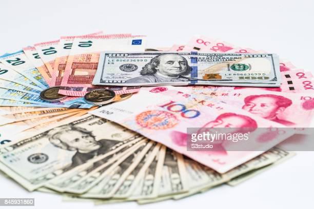 China RMB US Euro bank notes are arranged for a photograph on 11 September 2017 in Hong Kong Hong Kong Photo by