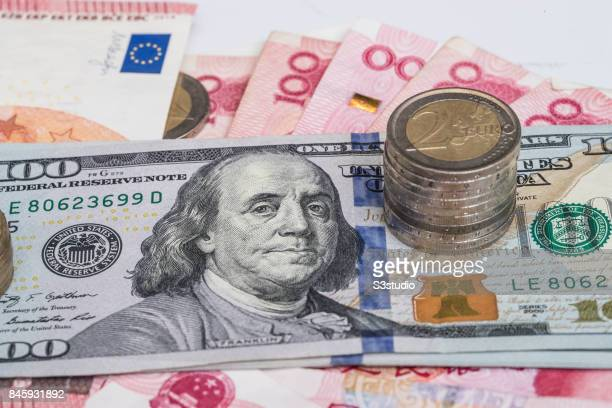 China RMB US Euro bank notes Euro coins are arranged for a photograph on 11 September 2017 in Hong Kong Hong Kong Photo by
