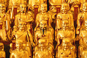 China, Shanghai, Buddha statues in Temple, close up