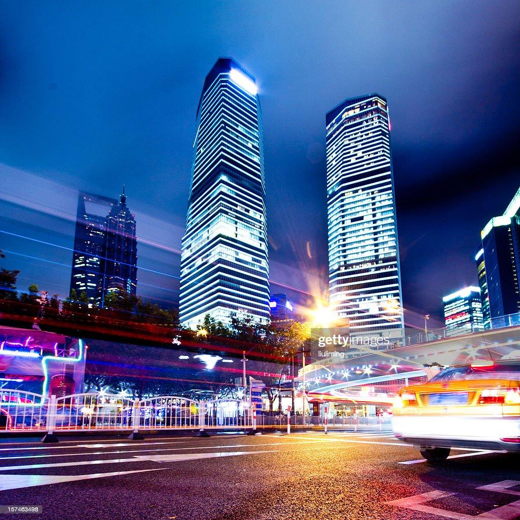 China Shanghai, Lujiazui's financial district : Stock Photo