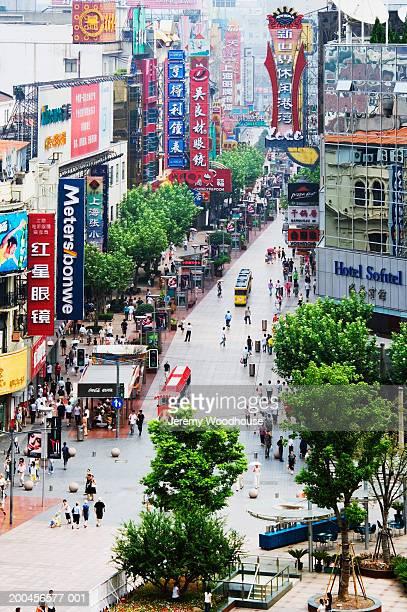 China, Shanghai, Nanjing Road, street scene, elevated view