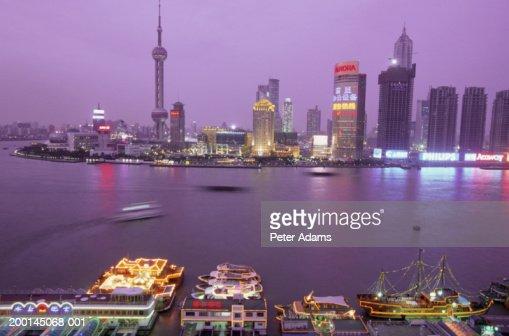 China, Shanghai, Pudong city skyline, night