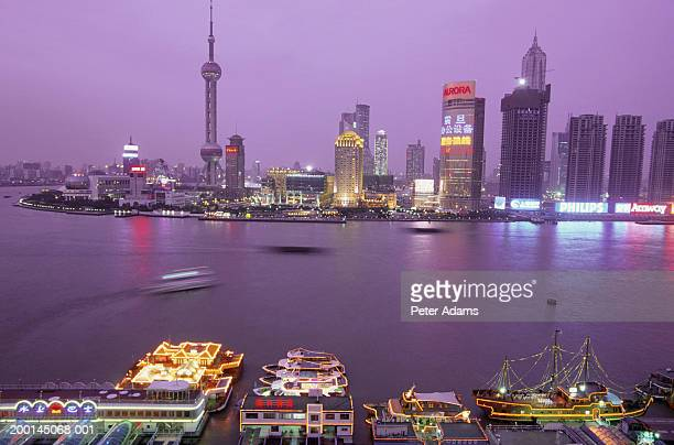 China, Shanghai, Pudong city skyline, night