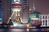 China, Shanghai, Pudong District, Oriental Pearl Tower and Huangpu River